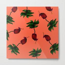 Maroon Ceritas Bloom (Peach Background) Metal Print