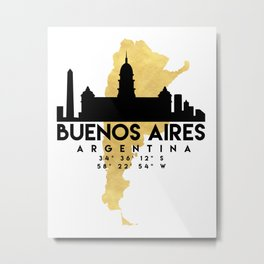 BUENOS AIRES ARGENTINA SILHOUETTE SKYLINE MAP ART Metal Print