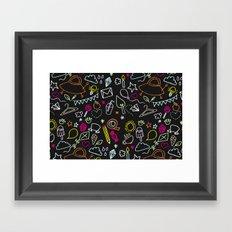 chalkboard doodles Framed Art Print