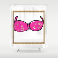 bikini Shower Curtains featuring Pink Bikini by Mike van der Hoorn