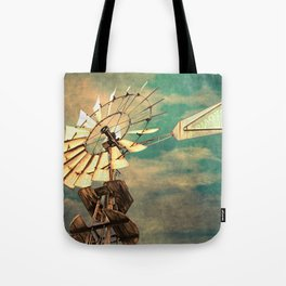 Rustic Windmill against Cloudy Sky A520 Tote Bag
