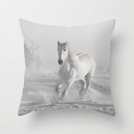 White Thoroughbred Horse Playing in Winter Snow black and white photograph / art photography Throw Pillow