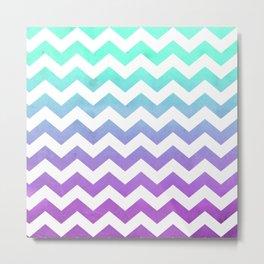 Purple Mint Aqua Ombre Chevron Pattern Metal Print