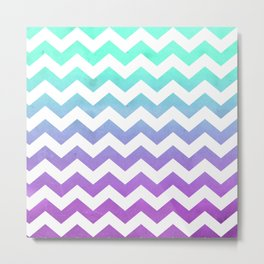 Purple Mint Aqua Ombre Chevron Pattern Metal Print