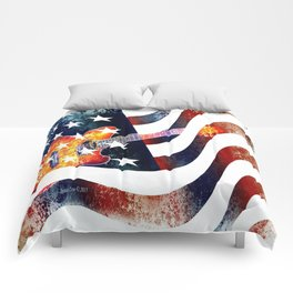 Country Music Guitar And American Flag By Annie Zeno  Comforters