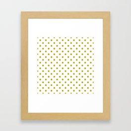 White and Gold Polka Dots Framed Art Print