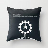 interstellar Throw Pillows featuring Interstellar by Duck Cartel
