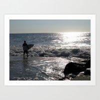 Summer Morning Surfer, Long Beach Island, NJ Art Print
