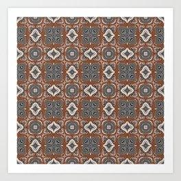 Gray Brown Taupe Beige Tan Black Hip Orient Bali Art Art Print