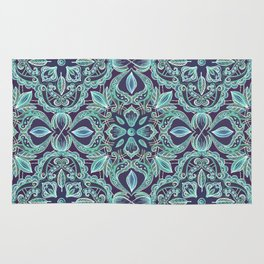 Chalkboard Floral Pattern in Teal & Navy Rug