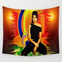 angelina jolie Wall Tapestries featuring Angelina Jolie by JT Digital Art