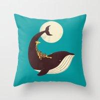 giraffe Throw Pillows featuring The Giraffe & the Whale by Jay Fleck
