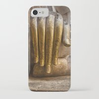buddhism iPhone & iPod Cases featuring Golden Hand of a Buddha in Wat Sri Chum Thailand by Maria Heyens