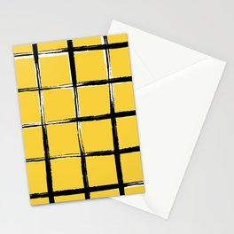 Yellow plaid, pool tiles pattern, tartan Stationery Cards