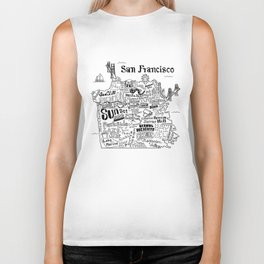 San Francisco Map Illustration Biker Tank