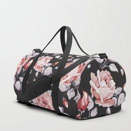 Vintage Pink Rose Flowers Duffle Bag