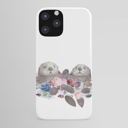 Sea Otters Holding Hands, Love Art iPhone Case