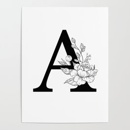 A botanical monogram. Letter initial with peonies Poster