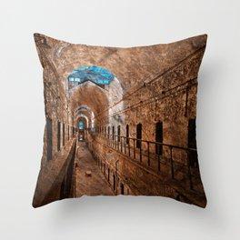 Prison Corridor - Sepia Blues Throw Pillow