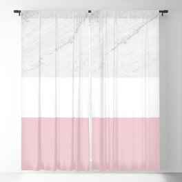Marble Dusty Pink White Color Block Modern Geometry Blackout Curtain