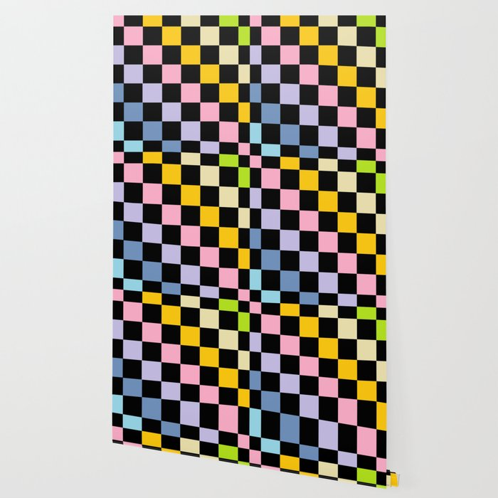 Checkered Pastel Rainbow Black Wallpaper By Lornakay Society6
