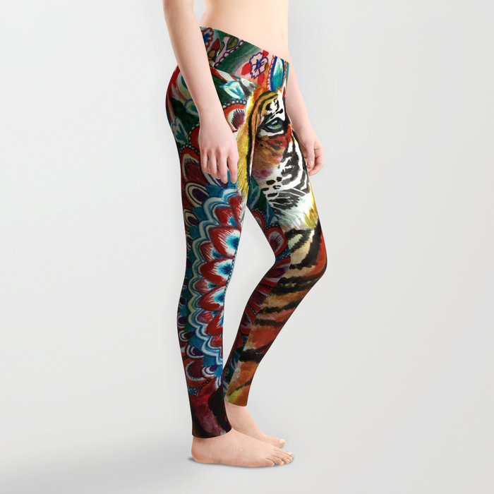 Tiger Watercolor Yoga Mandala Leggings