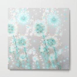 Dandelions in Turquoise Metal Print