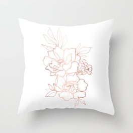 Peony Blossoms Vertical - Rose Gold Throw Pillow