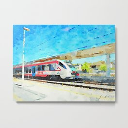 Travel by train from Teramo to Rome: train in station Metal Print
