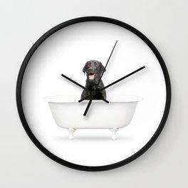 Black Lab in Vintage Bathtub Wall Clock