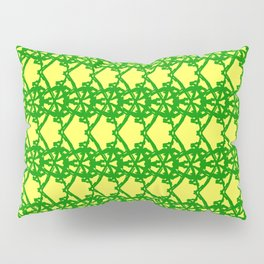 Braided openwork pattern of wire and green arrows on a yellow background. Pillow Sham