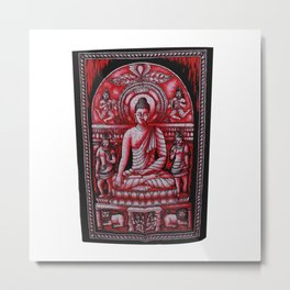 Vintage art Buddha Meditation Red Batik Wall Hanging  Metal Print