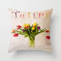 tulips Throw Pillows featuring Tulips by Fine Art by Rina