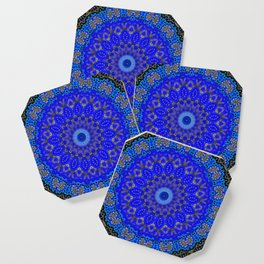 Mandala in Cobalt And Gold Coaster