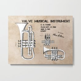 Valve musical instrument patent art Metal Print