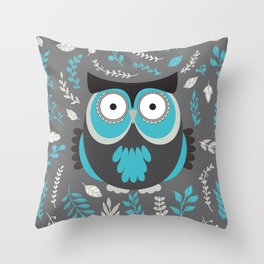 BLUE OWL AND LEAVES Throw Pillow