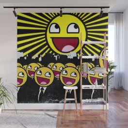 Awesome Smiley Faces Yellow Emoticon                                      Wall Mural
