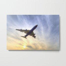 Boeing 747 Sunset  Metal Print