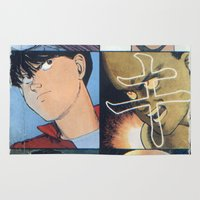 akira Area & Throw Rugs featuring Akira: Pulped Fiction edition by InvaderDig