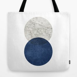 Marble blue navy circle Tote Bag