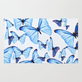 Butterflies Blue Wings White Background #decor #society6 #buyart Rug