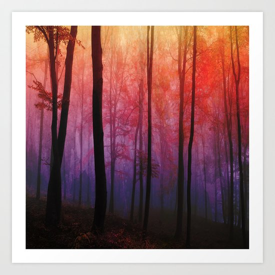 Whispering Woods, Colorful Landscape Art Art Print