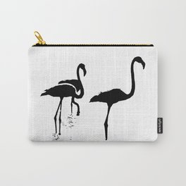 Three Flamingos Black Silhouette Isolated Carry-All Pouch