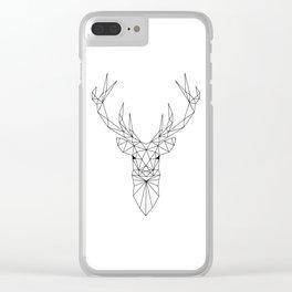 Geometric Deer Head Clear iPhone Case