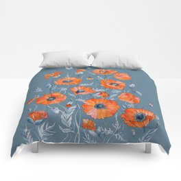 Red poppies in grey Comforters