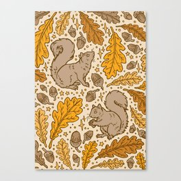 Oak & Squirrels | Autumn Yellows Palette Canvas Print