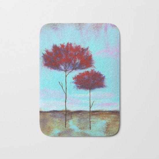 Cherished, Abstract Landscape Skinny Trees Bath Mat