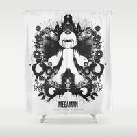 psychology Shower Curtains featuring Megaman Geek Ink Blot Test by Barrett Biggers