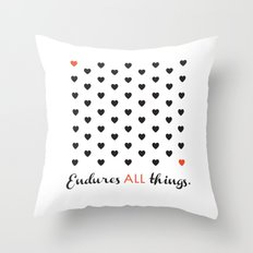 Love Endures All (Blk/Red) Throw Pillow