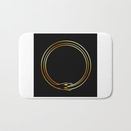 The symbol of Ouroboros snake in gold colors Bath Mat